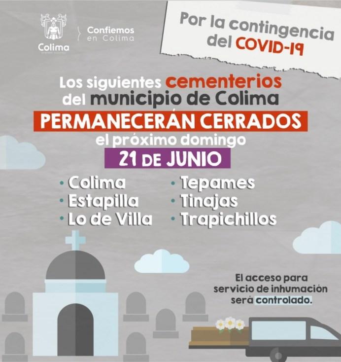El Panteón Municipal de Colima y de comunidades, sin acceso a visitantes el Día del Padre