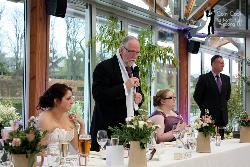 Colin Cook as Master of Ceremonies at an Alnwick Garden Wedding Reception