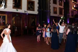 Durham Castle Wedding Disco Bouquet Toss