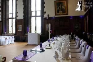 Durham Castle Wedding. Great Hall set up for music, Uplighting and Master of Ceremonies