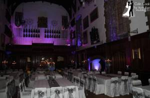 Durham Castle with Purple Uplighting for Wedding