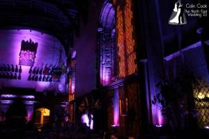 Amazing atmospheric Moodlighting at Durham Castle for a wedding. The Purple looks incredible!