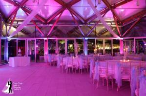 Alnwick Garden Wedding DJ, Disco and Uplighting. The Pavilion in Pink & Blue
