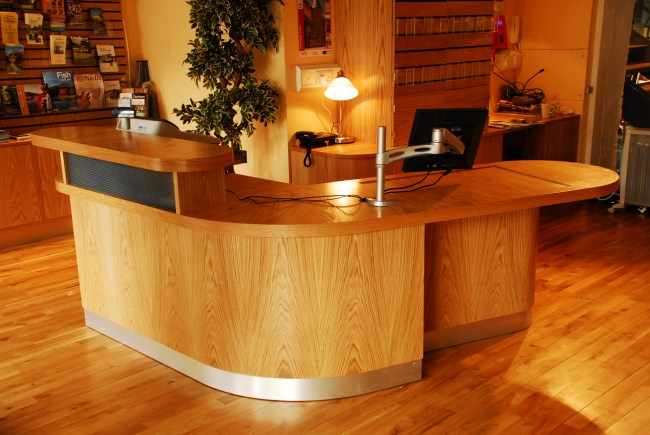 Wood Veneer Reception Desk - Heart of Hawick - Colinton Furniture