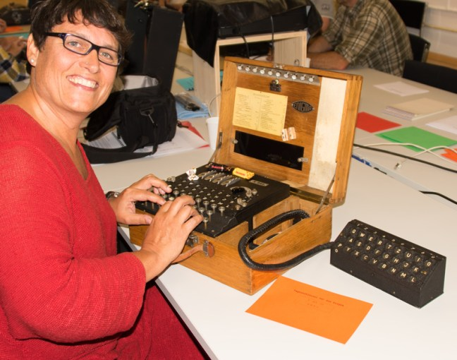 Rhea with a German Enigma Machine