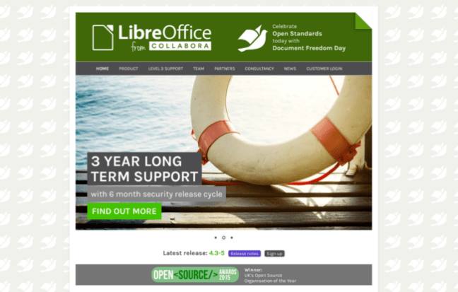 Screenshot of Document Freedom Day theme of libreoffice-from-collabora.com