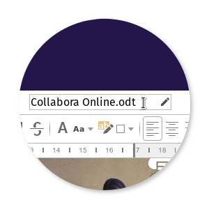 Screenshot of Collabora 4.0  bubble renaming document