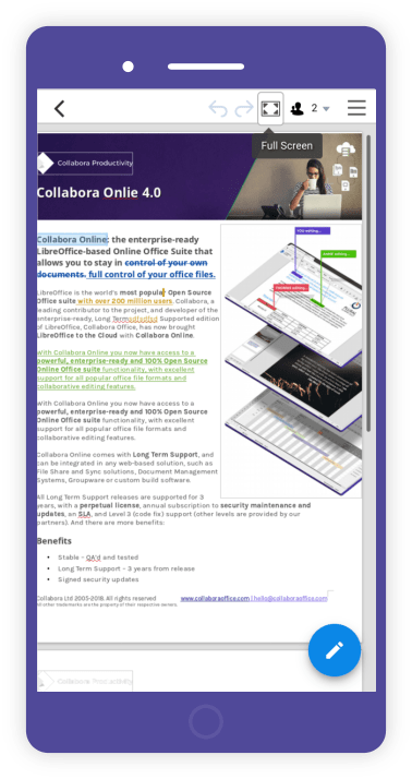 Screenshot collabora Online 4.0 Mobile view doc