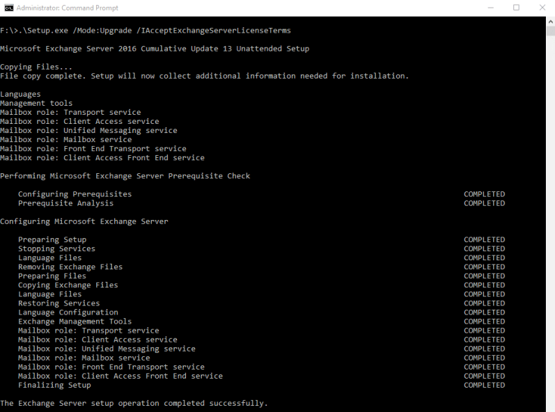 Exchange 2016:- Upgrade to CU13 using the command line