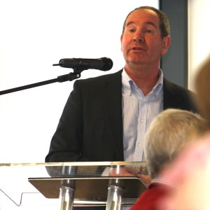 Grant Hayward speaking at a Business Breakfast