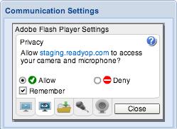 Screenshot: Communication Settings