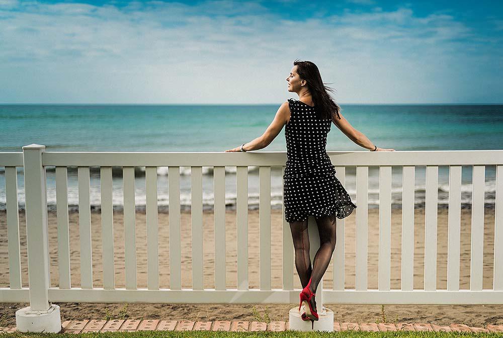 Regina módní foto u moře