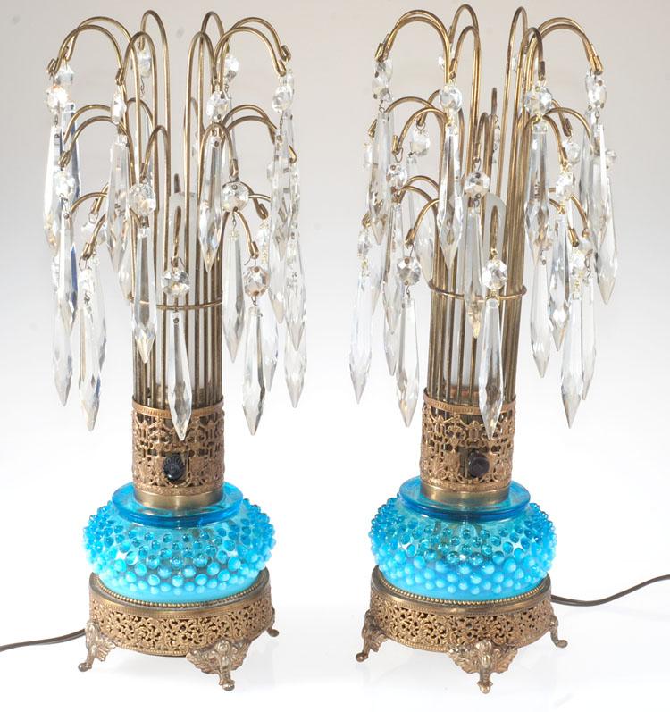 Hollywood Regency Prism Crystal Waterfall Boudoir Lamp