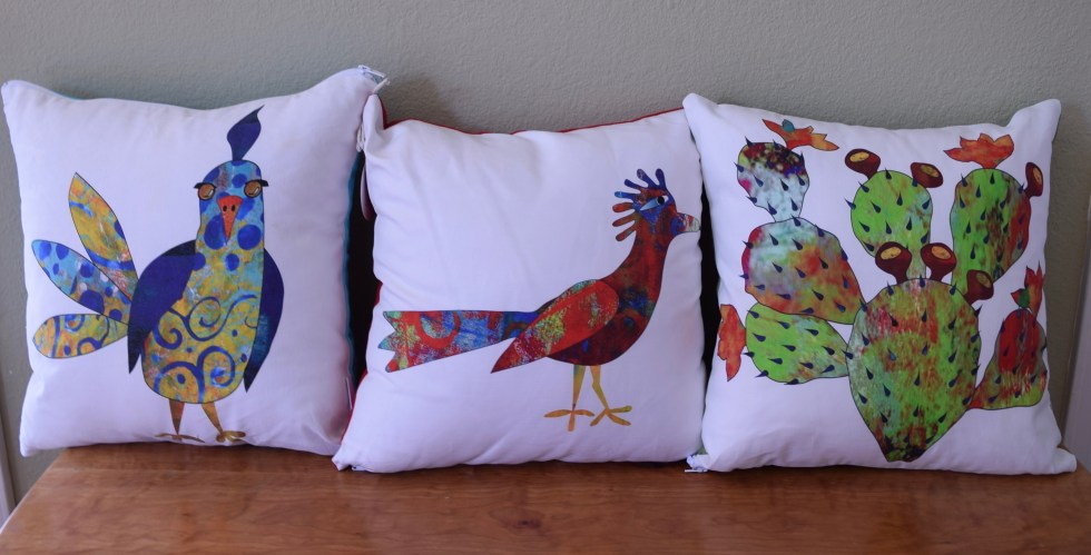 Pillows based on Corrales prints.