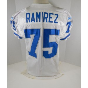 1996 Detroit Lions Tony Ramirez _Number_75 Game Issued White Jersey DP06936