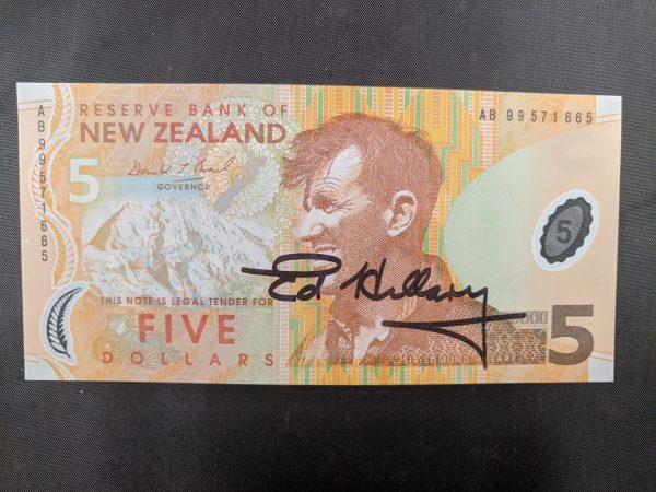 edmund hillary signed bank note