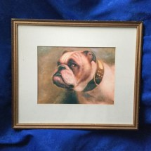 Beautiful Framed Painting Of A Bulldog