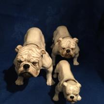 Set of 3 White Doulton Bulldogs