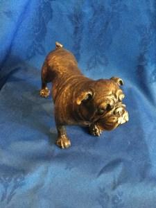Standing bronze bulldog
