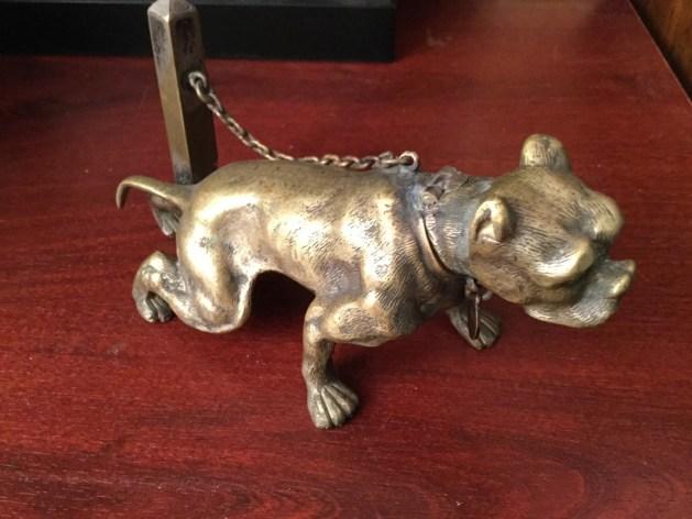 1800's Bulldog Bronze Vesta