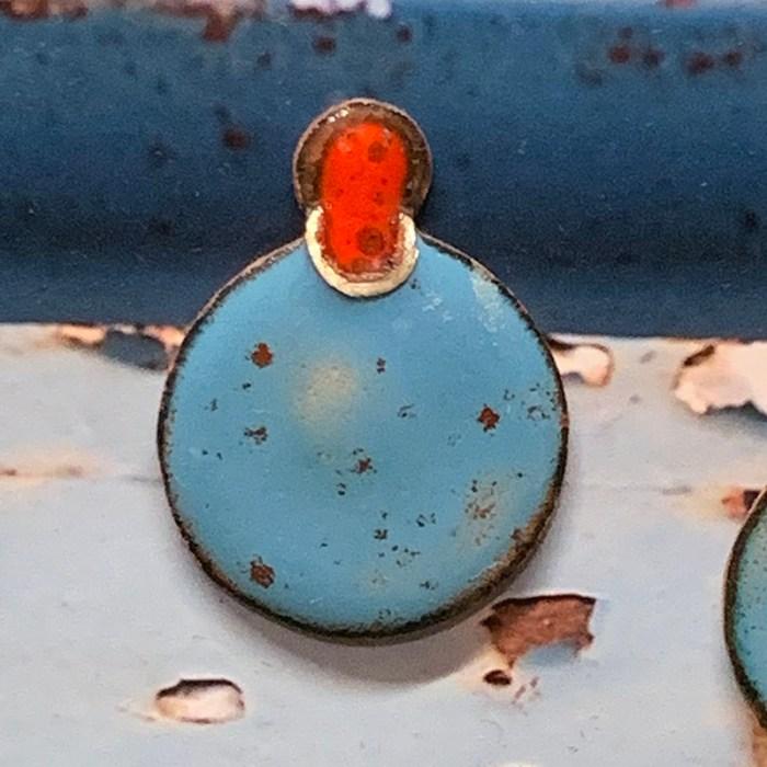 oorbellen roestig blauw