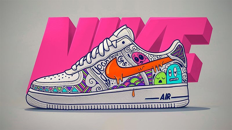 Doodle Art Custom D Une Nike Air Force 1 Avec Procreate