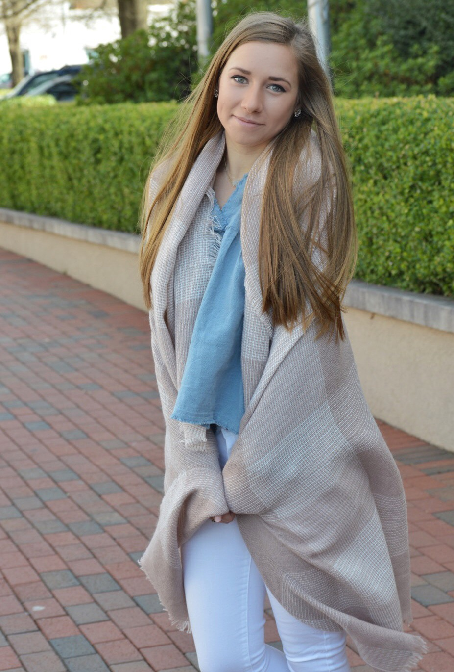 Chambray Babydoll Top with Scarf