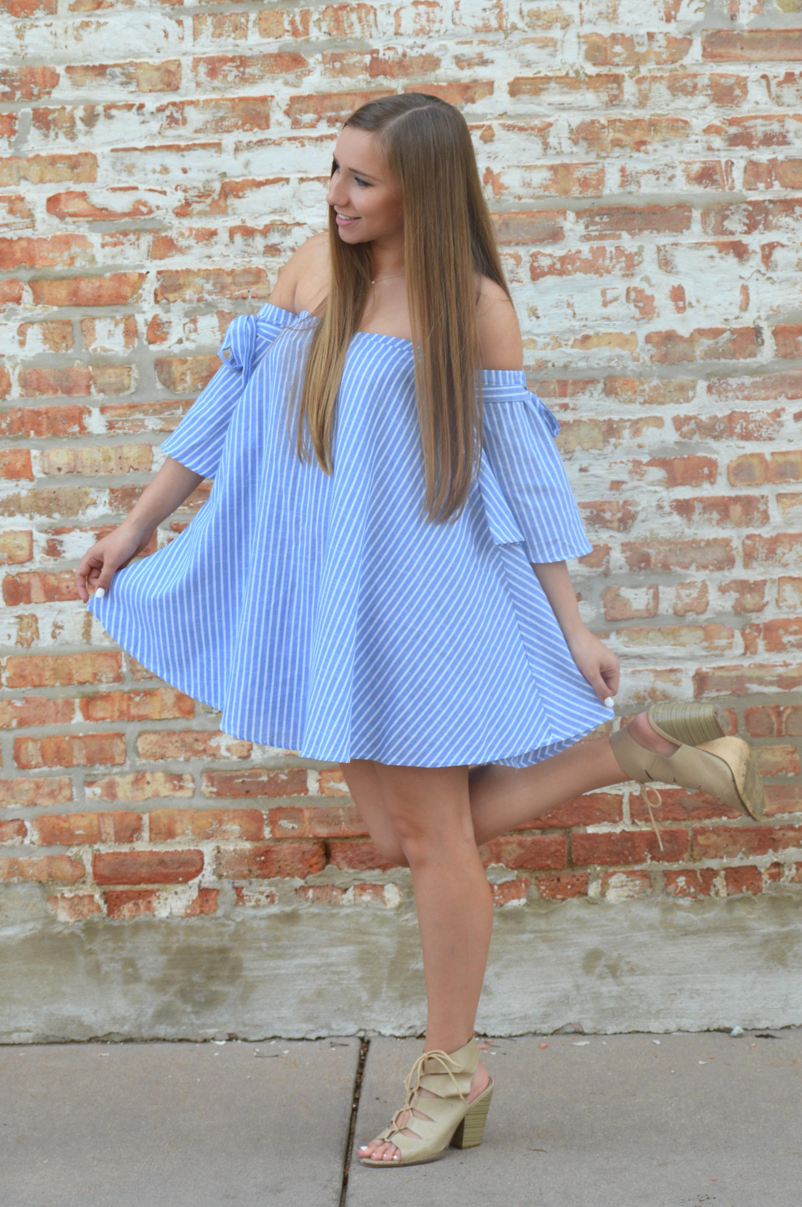 Off The Shoulder Blue Striped Dress