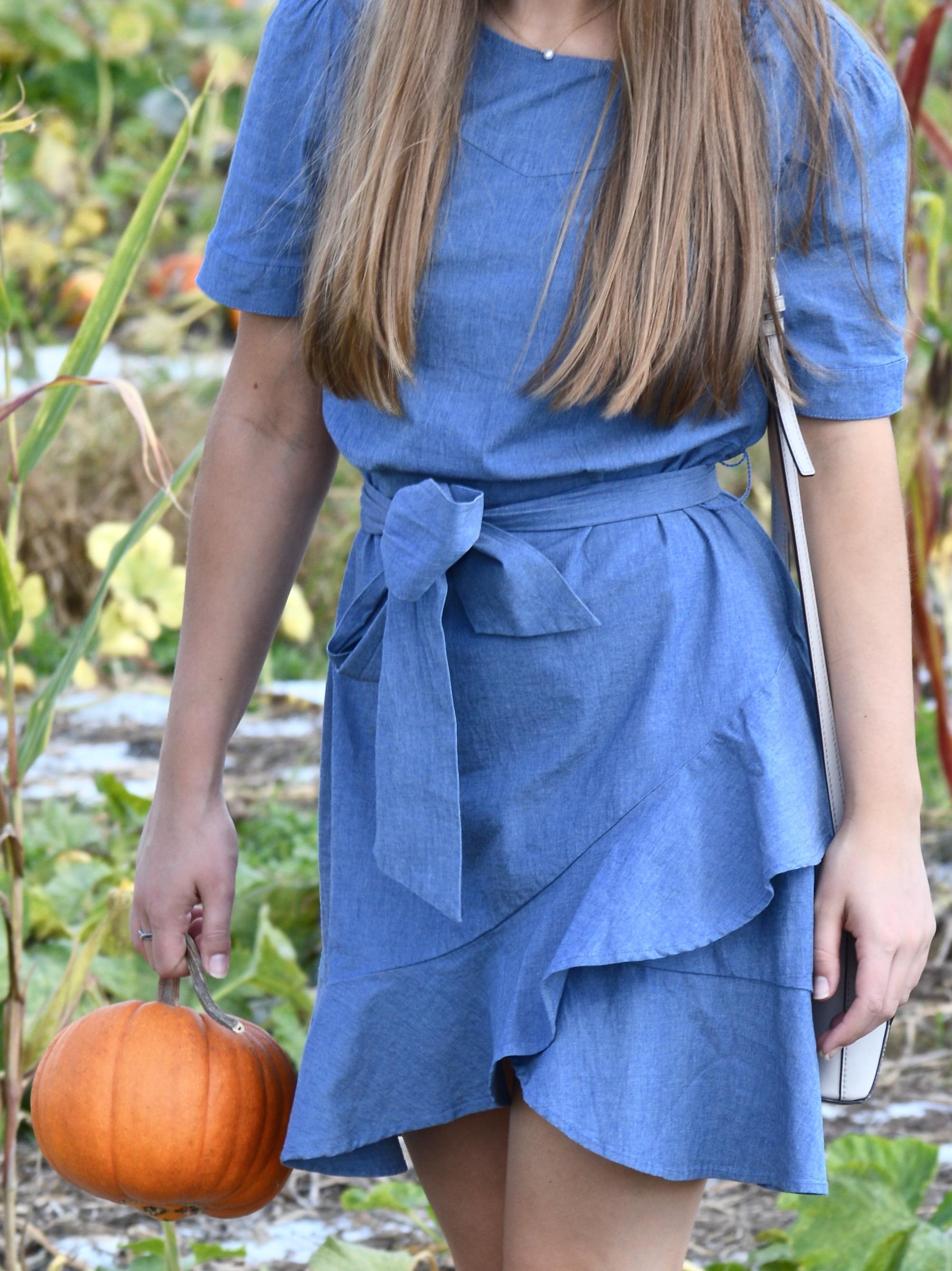 Fall Ruffled Chambray Dress