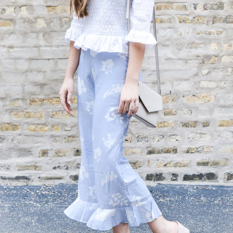 Ruffled Floral Pants + Ruched Off the Shoulder Top