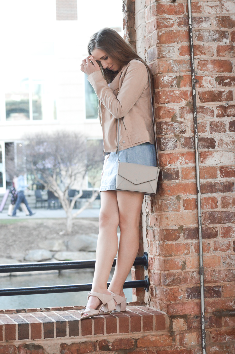 Faux Suede Moto Jacket and Denim Skirt