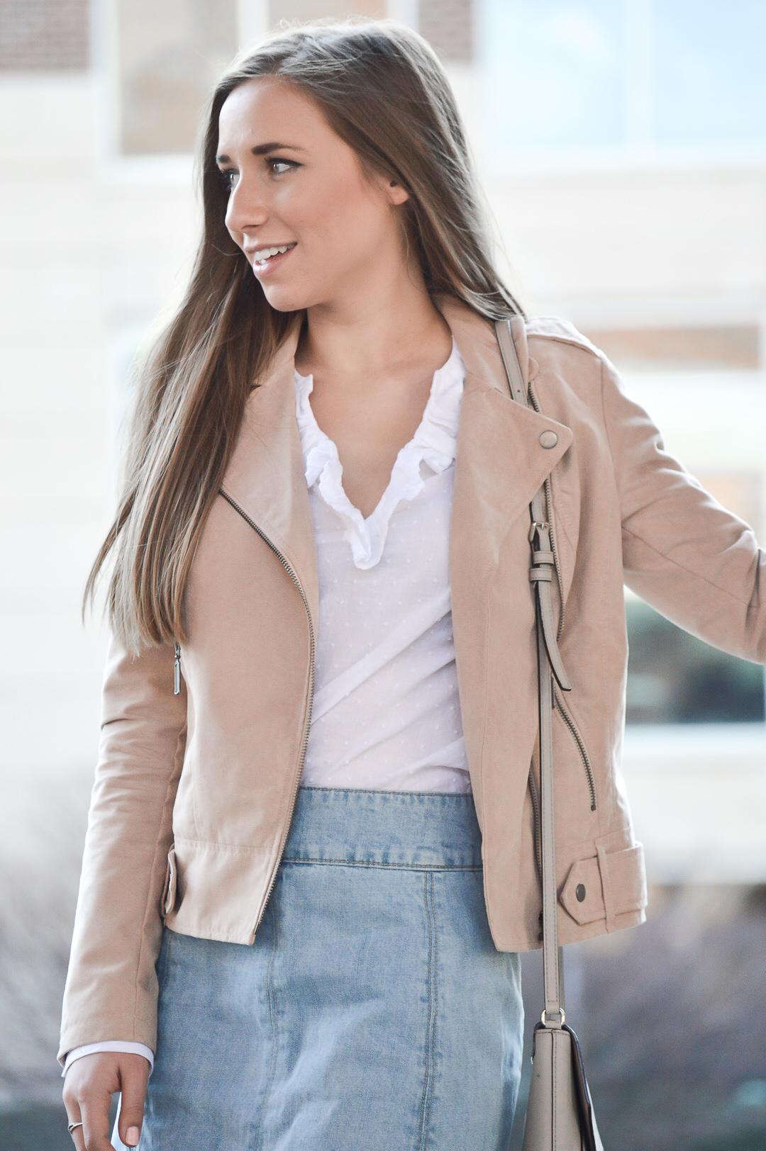 White Ruffled Blouse and Moto Jacket