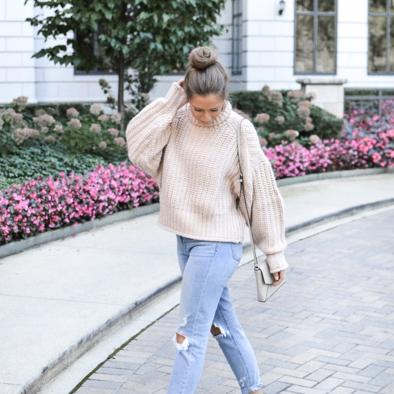 Everyday Casual Fall Outfit with Chunky Knit Sweater + Distressed Denim