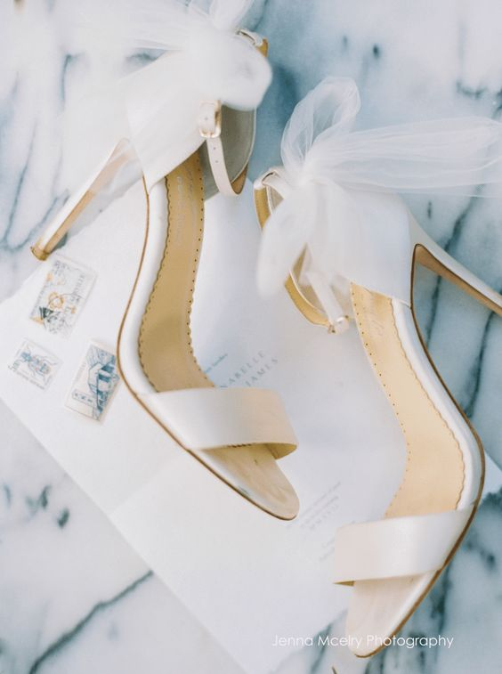 Wedding Heels with Tulle Bows