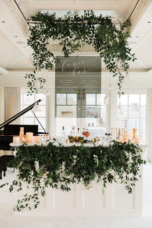 Beautiful Greenery Design on Wedding Bar