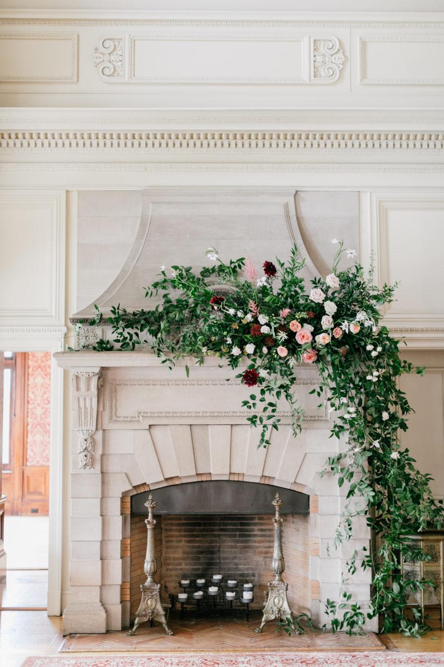 Wedding Venue Floral Mantel Display