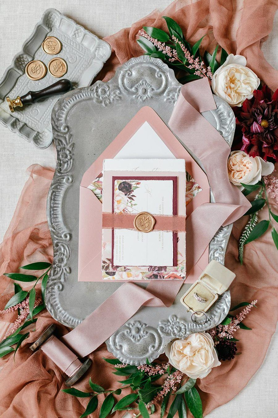 Vintage Wedding Invitation and Details Flat Lay