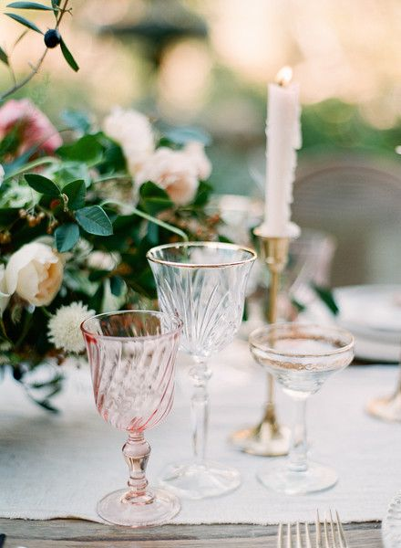 Eclectic and Vintage Glassware for a French Inspired Wedding