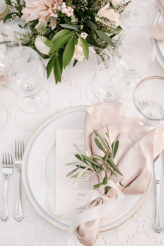 Blush Satin Feminine Wedding Tablescape