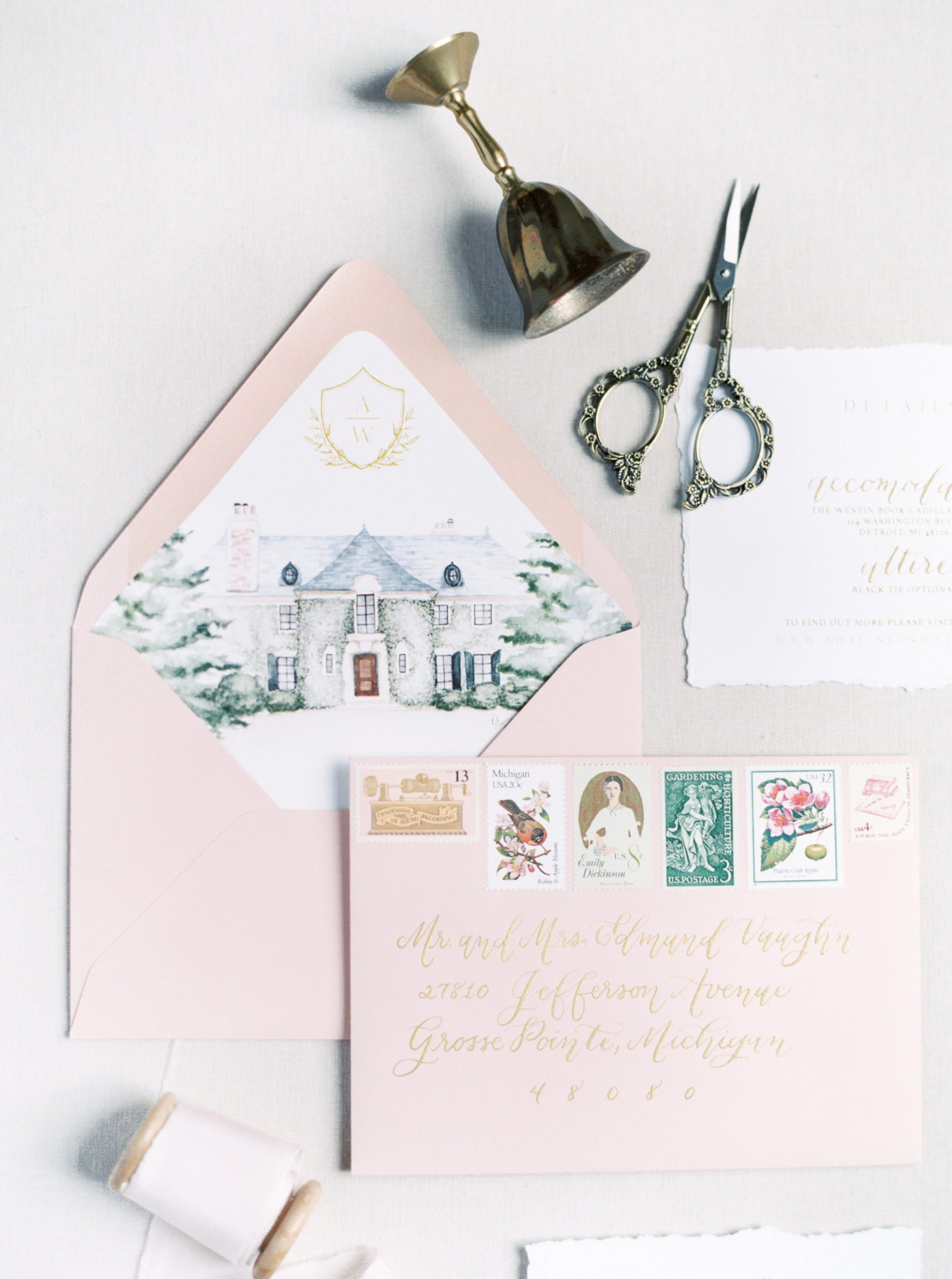 Blush Pink and Watercolor Wedding Invitations