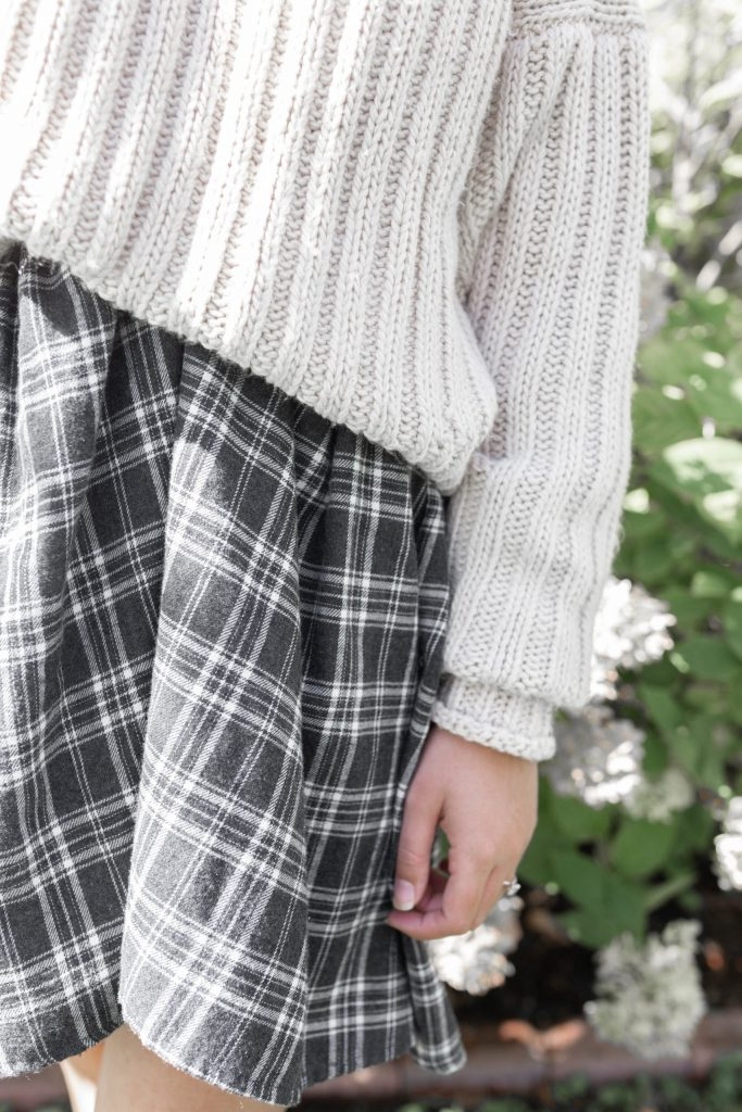 Chunky Knit Sweater and Plaid Dress Fall Capsule Wardrobe Pieces