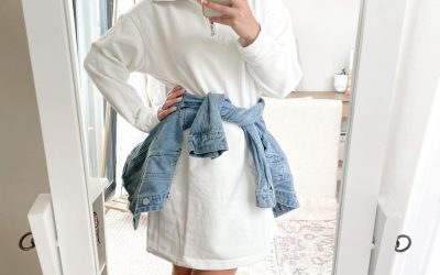 Sweatshirt Dress Game Day Look with Denim Jacket