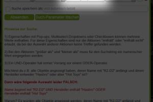 Suche - Parameter eingeben