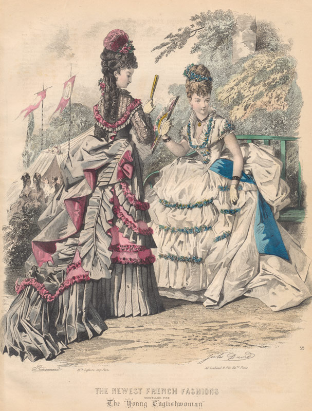 Antique Fashion Plates Hand Coloured Set Of 4 1870s