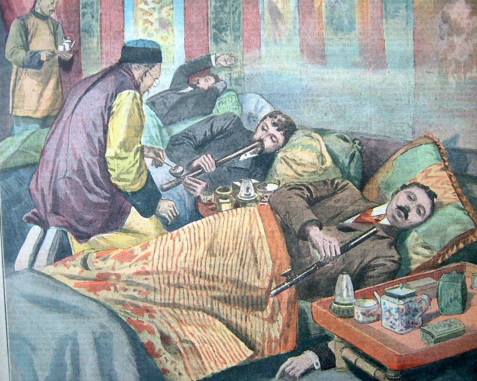 "A detail of a cover of ""Le Petit Parisien"" magazine from 1907 depicts opium smokers in France."