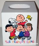 Peanuts Gang holding Charlie Brown and Snoopy Tissue Box Cover