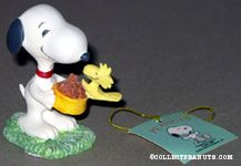 Snoopy holding dog dish with Woodstock Figurine