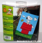 Snoopy & Woodstock on Doghouse 'Welcome Friends' Flag
