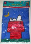 Snoopy sleeping on doghouse under stars Mini Flag