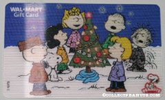 Peanuts Gang caroling around Christmas Tree Walmart Gift Card
